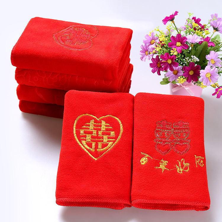 Khăn đám cưới 35 * 75 khăn cưới màu đỏ quà cưới trở lại khăn nước nổ cặp vợ chồng nóng