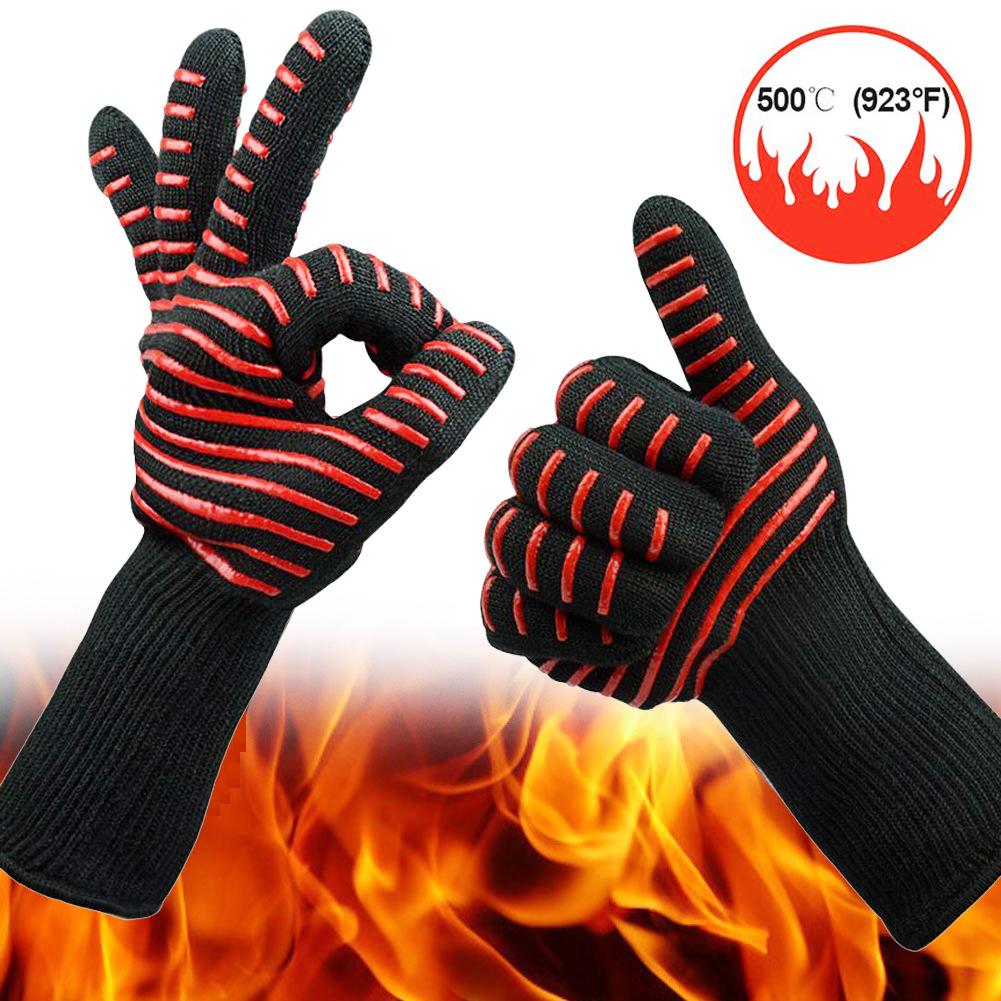 LL Găng tay chống cắt Lò nướng nhiệt độ cao chống cặn chống cắt cách nhiệt 500/800 độ thịt nướng lò