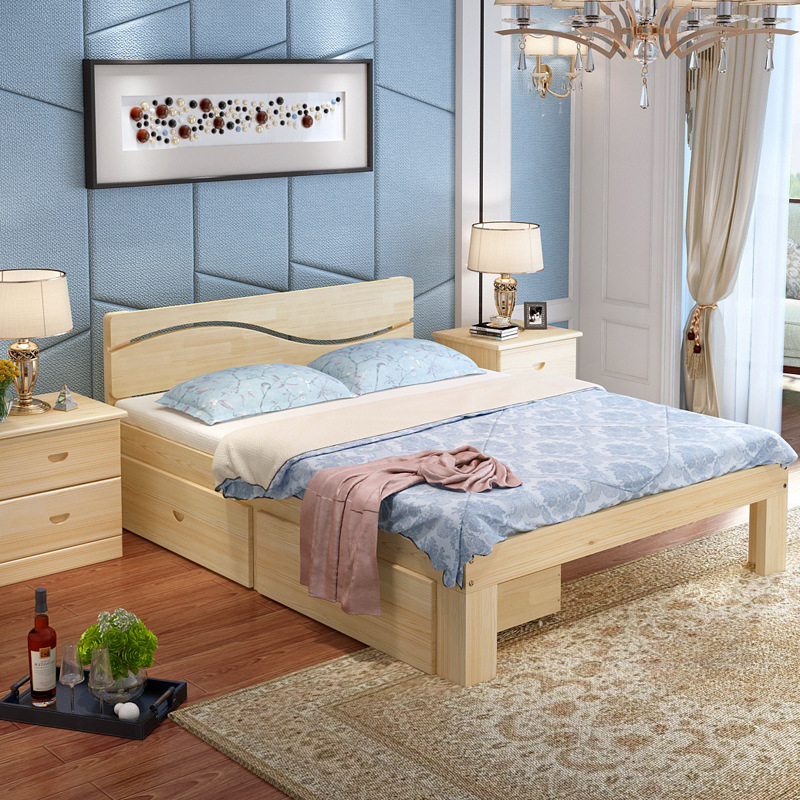 Nội Thất phòng Ngủ : Giường gỗ rắn hiện đại 1,8 m - giường đôi 1,5 m .