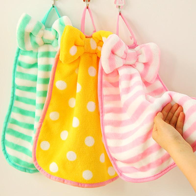 khăn lau tay Ngọt ngào nơ lông cừu dày có thể được sử dụng treo khăn siêu thấm nhà bếp giẻ lau nhà t