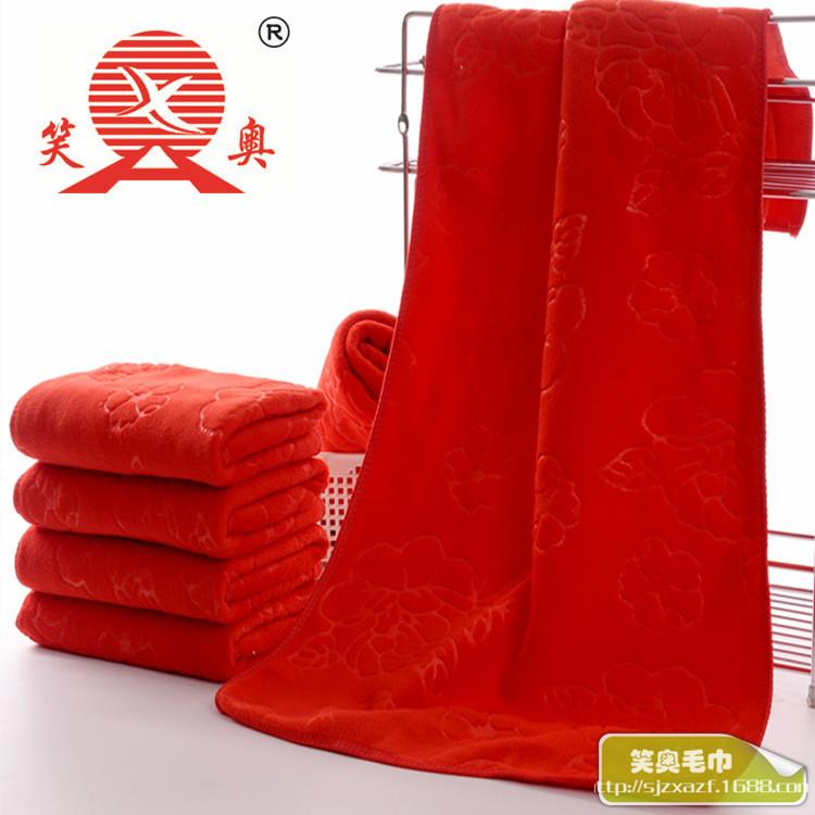 Khăn đám cưới Khăn cưới đỏ đỏ 35x75 quà cưới trăng rằm tặng microfiber làm mềm thấm hút khăn mặt dày