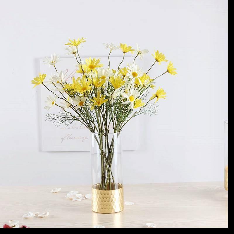 Bình bông  Vàng Bắc Âu, tổ ong, bình hoa hồng thủy tinh trang trí nhà cửa thẳng xi lanh mềm giấy trá