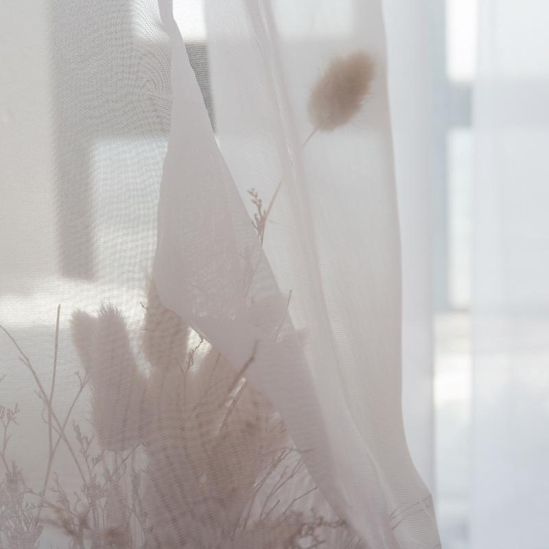 YIGE rèm thuỷ tinh Bắc Âu tối giản hiện đại Nhật Bản màn hình cửa sổ trắng tinh khiết Tulle sợi trắn