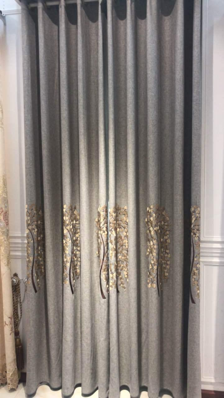 rèm cửa sổ Ke Kiều rèm vải cotton và vải lanh thêu tiền cây may mắn màu xám xanh tím phòng ngủ phòng