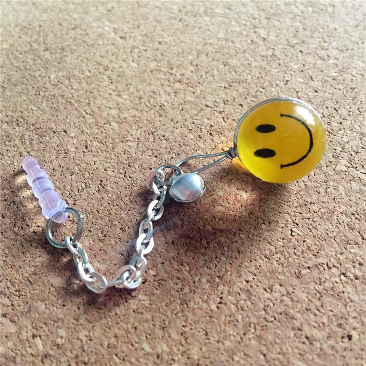 BRXGS Nút cắm chống bụi Mặt cười màu vàng ULZZANG đôi bán cầu bụi bạc cắm cửa hàng cung cấp bán buôn