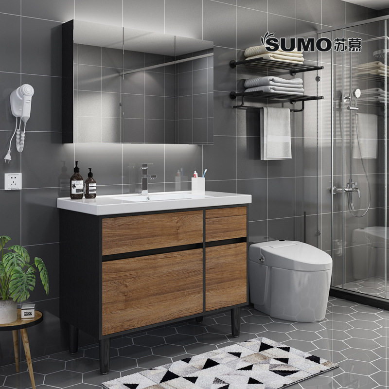Bộ Tủ phòng tắm hiện đại kết hợp tủ gỗ rắn ,tủ gương và chậu rửa .