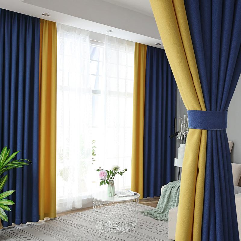 rèm cửa sổ Nhà máy trực tiếp phong cách Bắc Âu cotton và vải lanh rèm vải màu phù hợp với màn cao mà