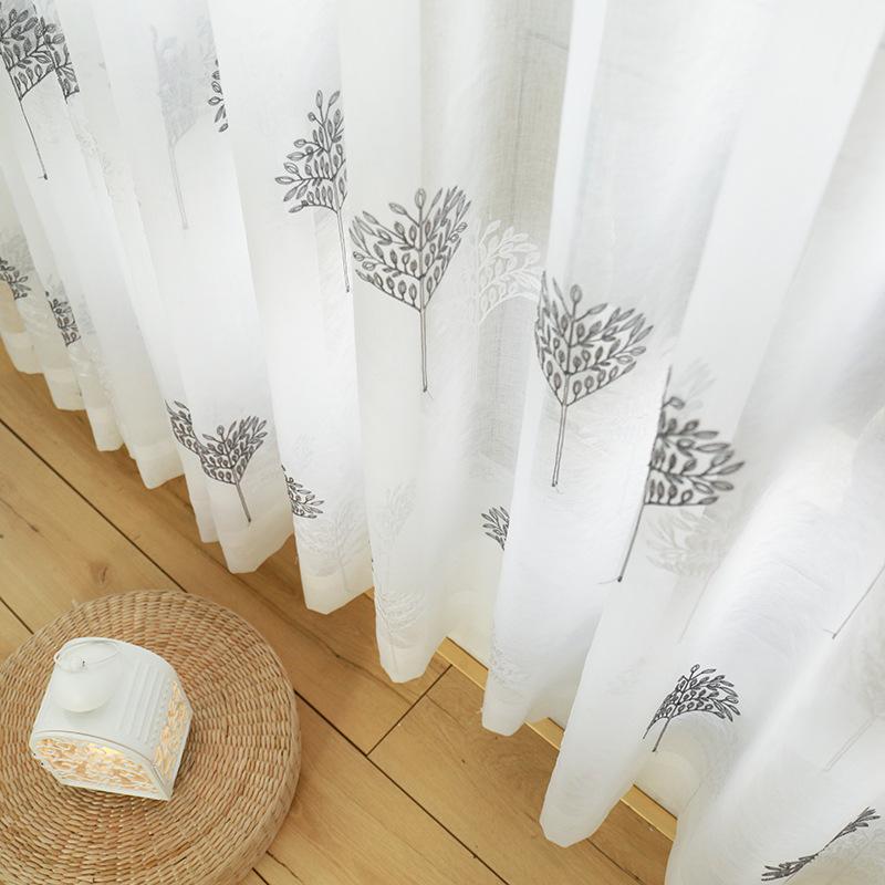 Suzy rèm thuỷ tinh mới thêu sợi màu xám trắng gạc rèm may mắn cây phong phú cây rèm cửa nổi nhà sản