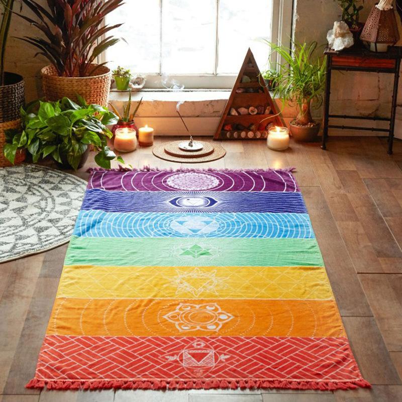 Z&J Khăn bãi cát Square Rainbow Beach Khăn đầy màu sắc Dòng đời Bánh xe Tấm thảm Mandala Yoga Mat