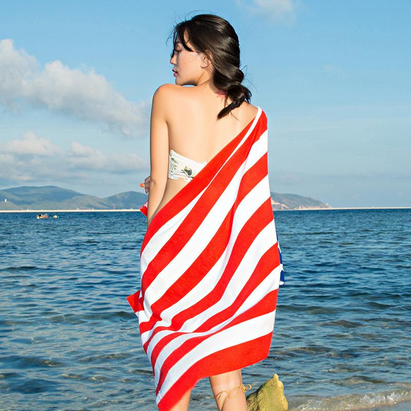 JIAWEI Khăn bãi cát Các nhà sản xuất tùy chỉnh hai mặt khăn nhung bãi biển microfiber khô nhanh khăn