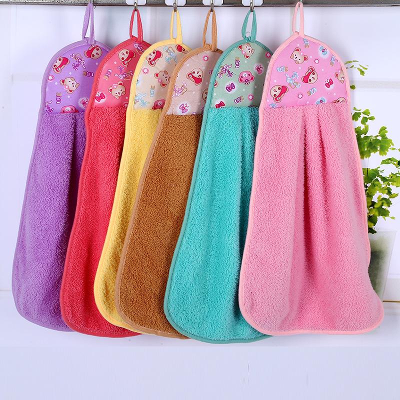 MANCHAO khăn lau tay Khăn nhung san hô khăn tay nhà bếp treo khăn tắm ban công treo khăn thấm nước m