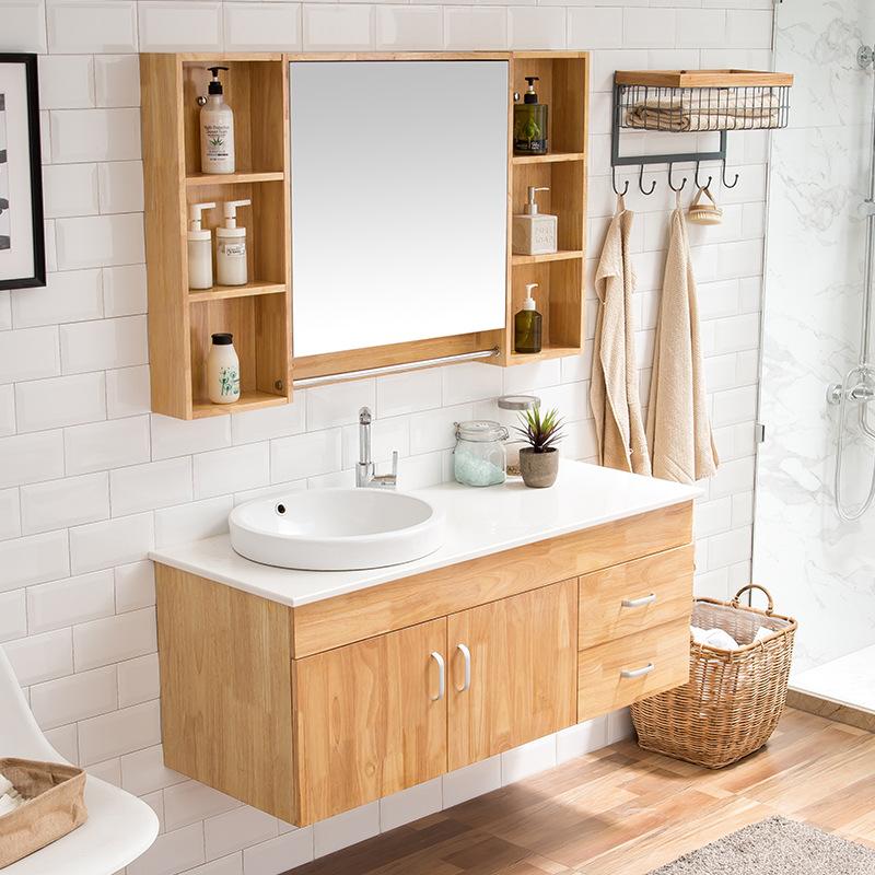 Bộ Tủ phòng tắm hiện đại kết hợp tủ gỗ rắn , tủ gương  .