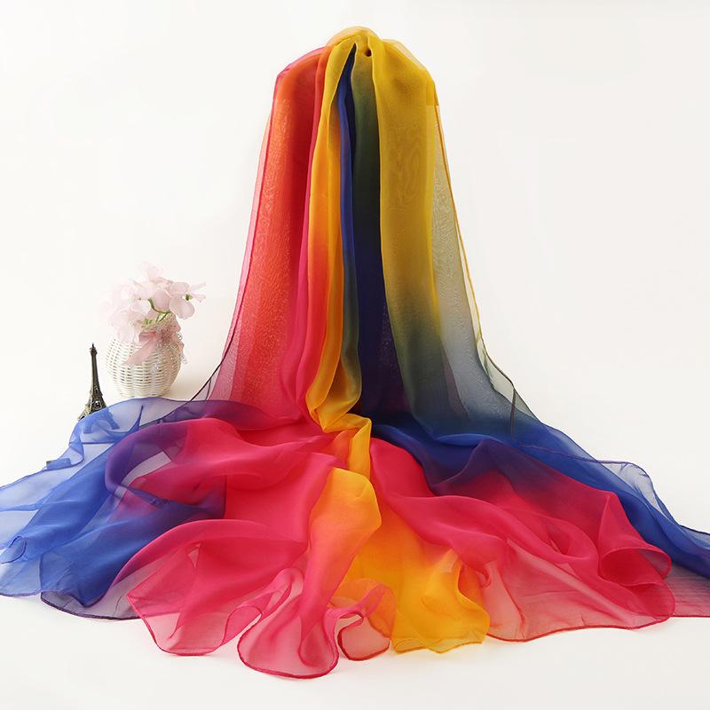 QIANMEI Khăn biến màu Khăn lụa mới băng nữ khăn voan lớn chống nắng khăn lụa lớn khăn bãi biển khăn