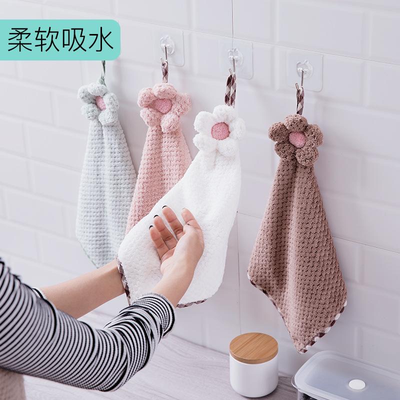 Hayan khăn lau tay Khăn tay Hayan dày nhung san hô có thể được treo khăn thấm mà không có khăn lau n
