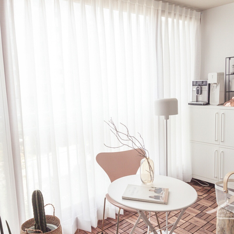 rèm thuỷ tinh Màn hình cửa sổ đơn giản hiện đại hoàn thành vách ngăn trang trí phòng ngủ voan vải cá