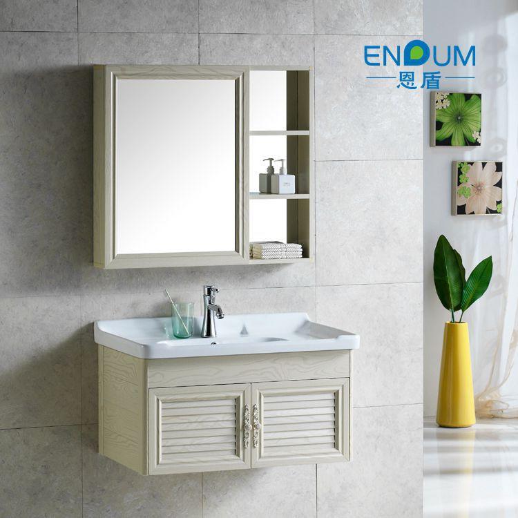 Bộ Tủ phòng tắm hiện đại kết hợp tủ gỗ rắn và tủ gương .