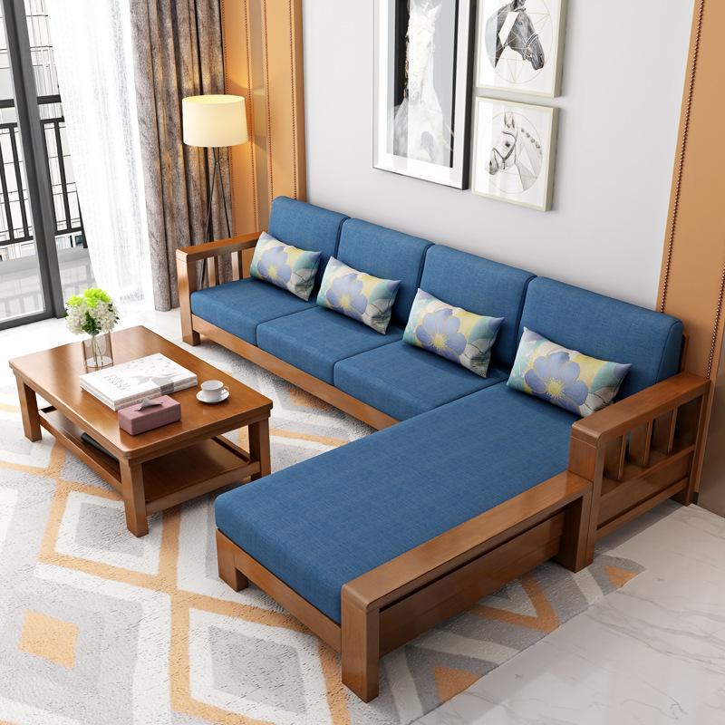 Thị trường nội thất : Bộ ghế sofa chữ L bằng gỗ đơn giản và cổ điển .