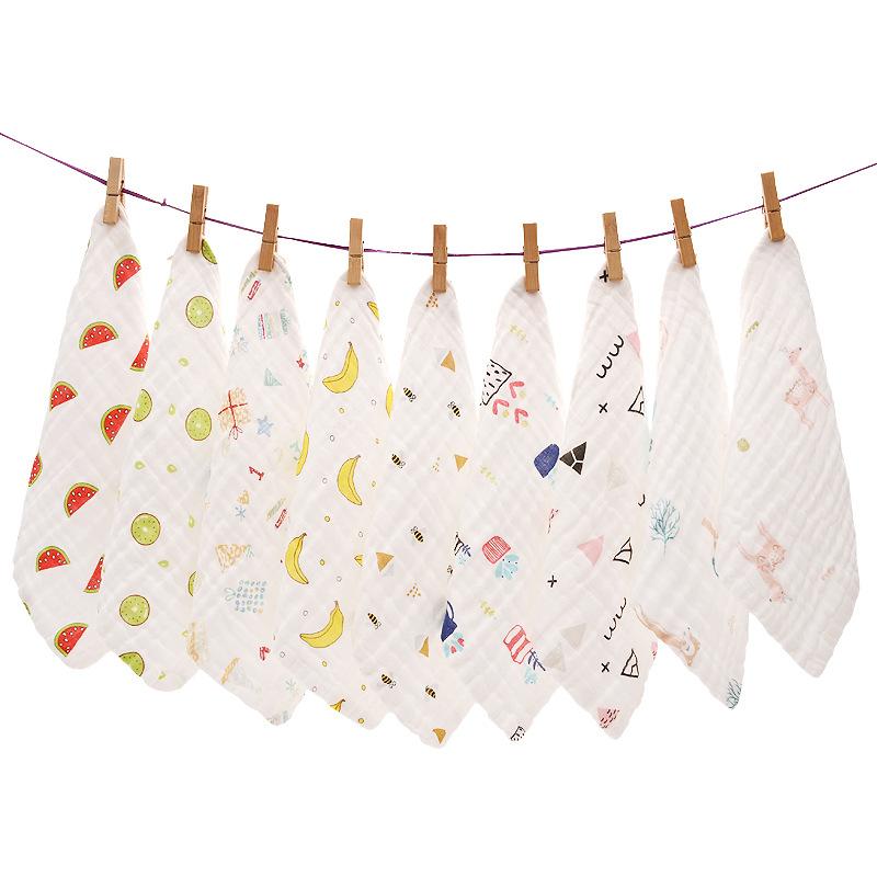 khăn tay Khăn vuông mật độ cao 6 lớp Khăn tay nước bọt Khăn tay em bé Khăn bông mặt tinh khiết Khăn