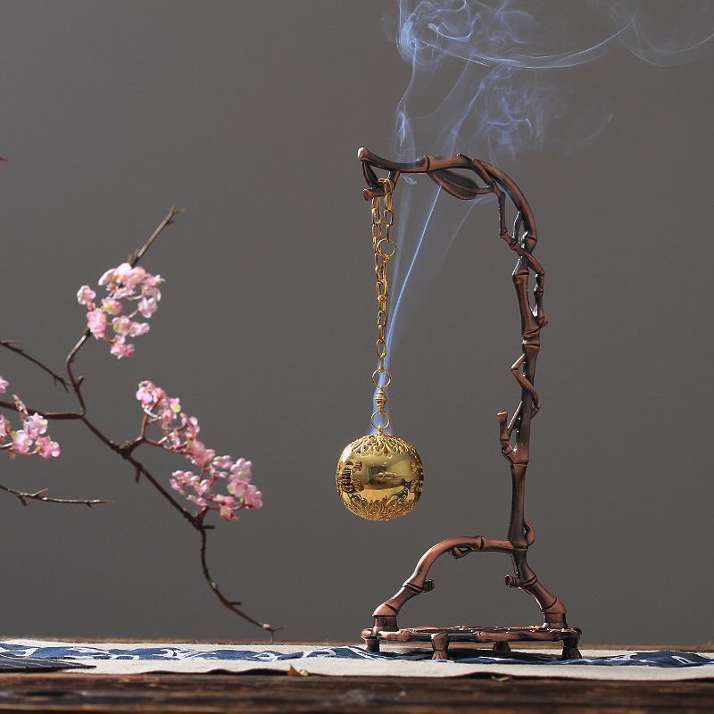 Lư hương Chim sâu làng Nho bạc nguyên chất túi thơm à lò treo trong nhà, bóng gỗ đàn hương Kim loại