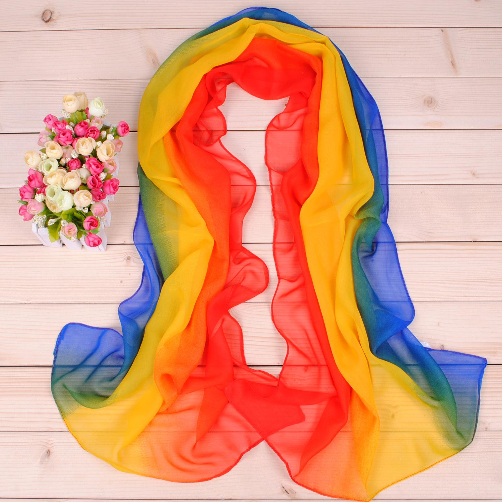 SYJN Khăn biến màu Thời trang mới thanh lịch ba màu gradient nữ in voan chống nắng khăn lụa bán buôn