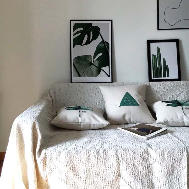 Đệm lót SoFa Ngoại thương sofa khăn trở lại khăn sofa đệm vải sofa bọc đan dây chuyền chăn trắng đầy