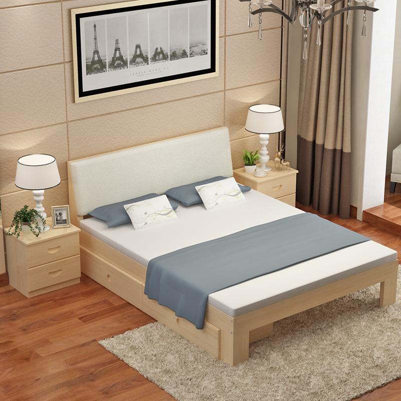 Thị trường nội thất : Bộ giường ngủ đôi bằng gỗ nguyên khối thiết kế đơn giản  .