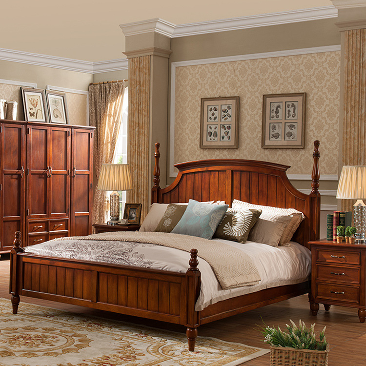 Thị trường nội thất : Bộ giường ngủ đôi bằng gỗ nguyên khối thiết kế sang trọng  .