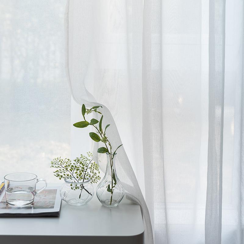 TANGXIA rèm thuỷ tinh Rèm gạc ban công phòng khách màu trắng phòng ngủ tùy chỉnh hoàn thành đơn giản