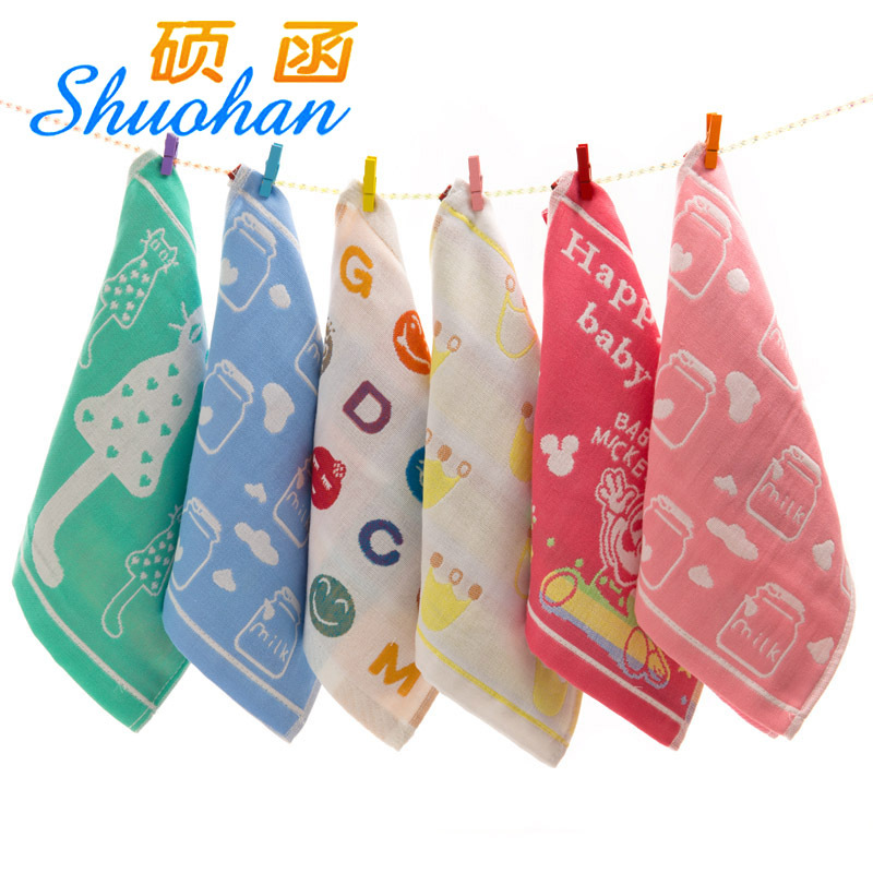 SHUOHAN khăn tay 27 * 27 bông gạc ba lớp vuông bé slobber bé có thể được liên kết với khăn tay nhỏ v