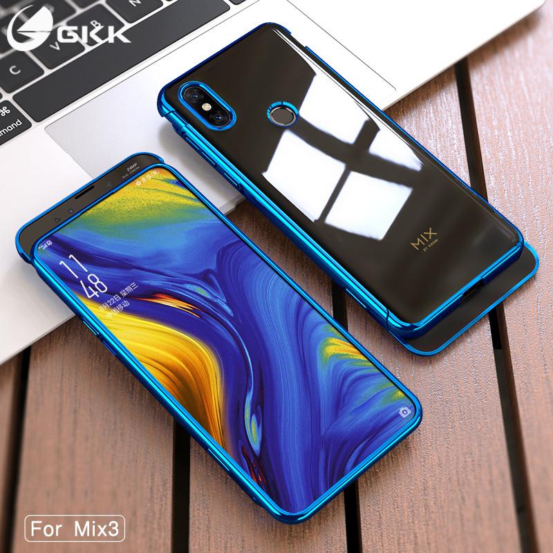 GKK bao da điện thoại kê mới mix3 mạ vỏ điện thoại di động Xiaomi sáng tạo đôi rãnh trượt trong suốt