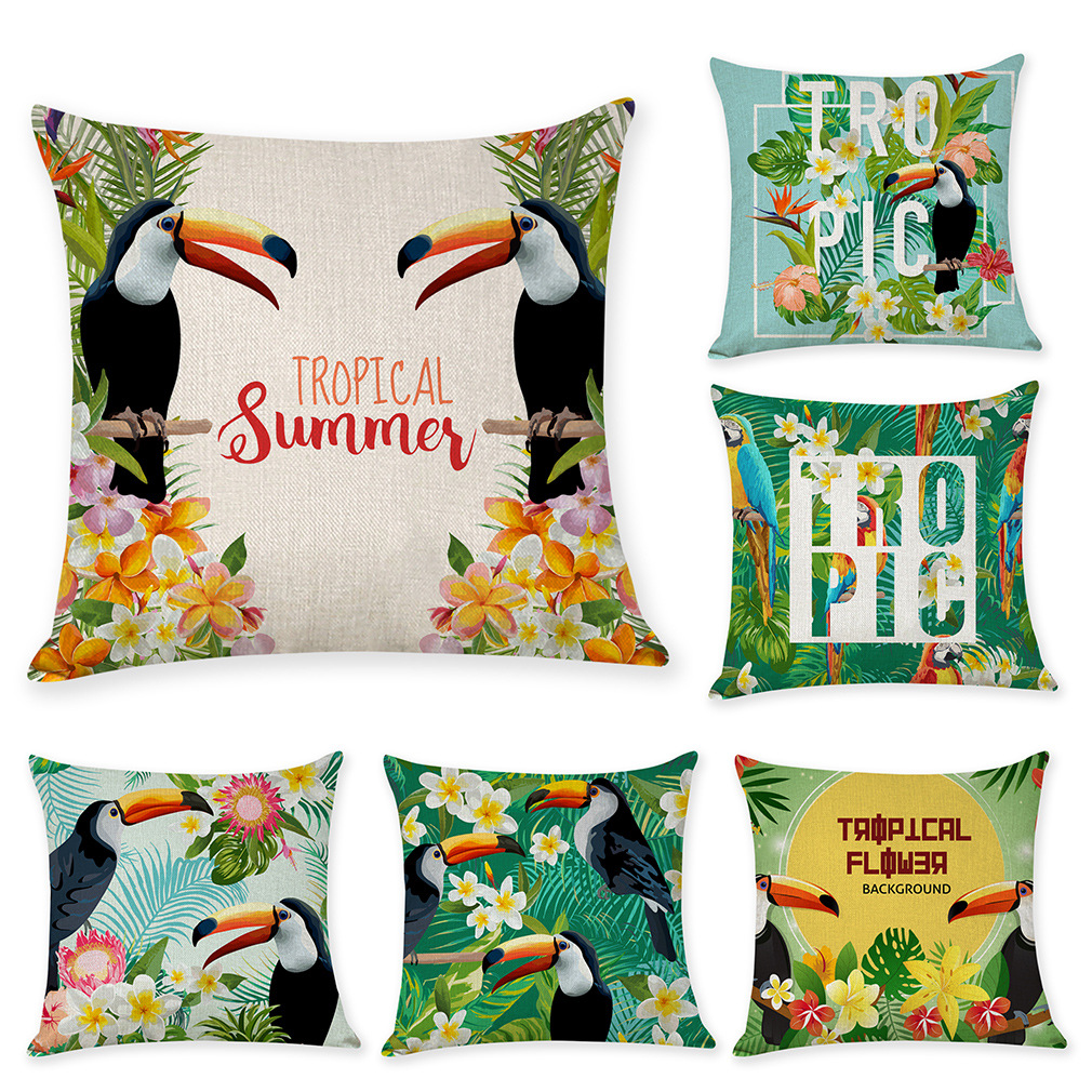 Gối Đệm Sofa sáng tạo với Kiểu dáng in hình cây lá  nhiệt đới .