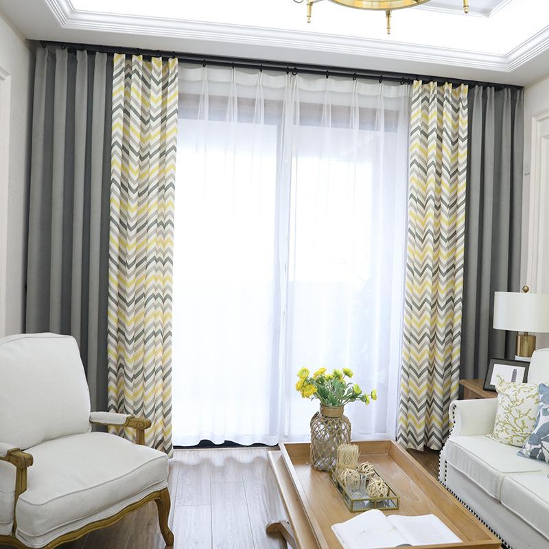 rèm cửa sổ Rèm cửa gió Bắc Âu Phòng ngủ Chevron Đơn giản hiện đại Hình học sóng Bay Cửa sổ Phòng khá