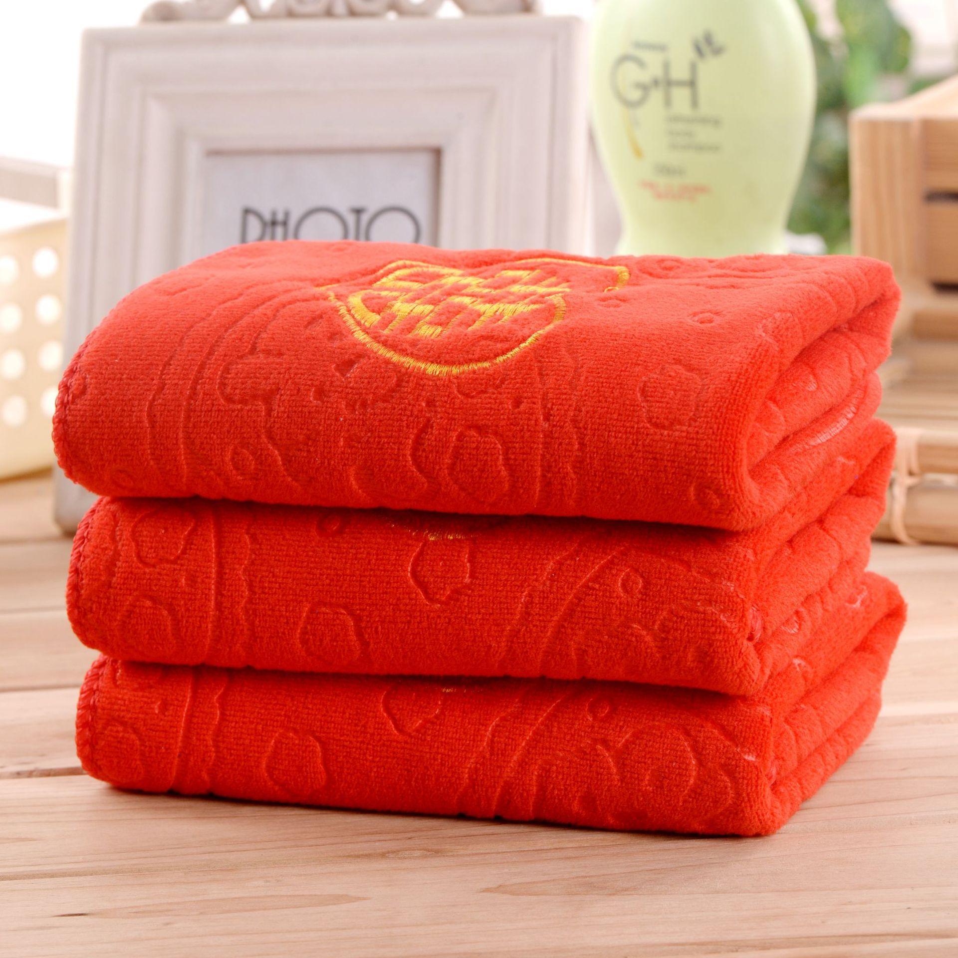 JIUJIU Khăn đám cưới Quà tặng lễ hội màu đỏ Quà tặng đám cưới Khăn đỏ khăn sợi nhỏ 25 * 25 khăn poly