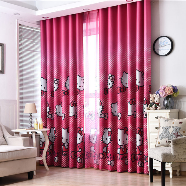 BUYIMEI rèm cửa sổ Rèm lụa đen trẻ em rèm cửa phòng bé gái rèm phòng ngủ rèm vải màu hồng không cắt