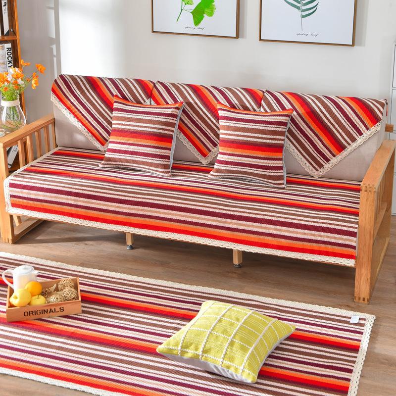 QIAOMIANFANG Đệm lót SoFa Hiện đại bốn mùa cotton và lanh trượt sofa đệm Pujiang khăn trải giường Ba