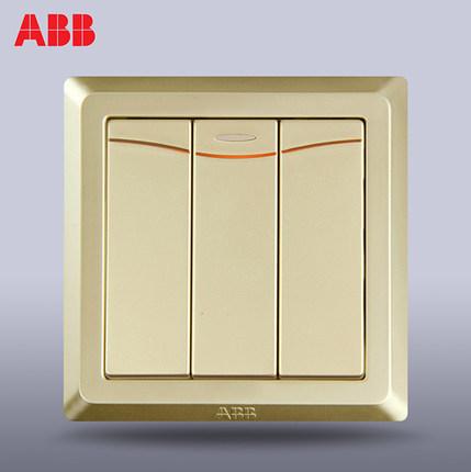 Ổ cắm công tắc ABB Thụy Sĩ Deyi ba công tắc điều khiển kép mở với đèn LED AE166-PG