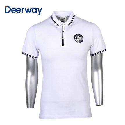 Áo thun Delhui Áo phông thể thao nam Delhui mùa hè mới ve áo thể thao nam ngắn tay áo sơ mi trơn kiể