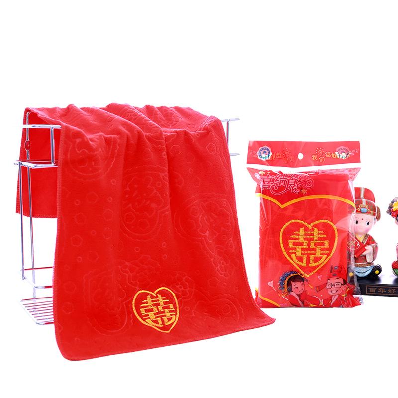 Khăn đám cưới Nhà máy trực tiếp màu đỏ hi từ Khăn thêu Xifu Shou từ logo tùy chỉnh lễ cưới trở lại k