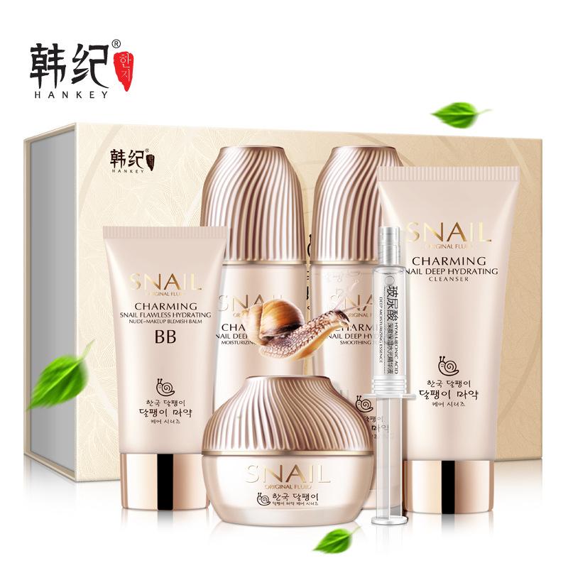 Hankey bộ sản phẩm Han Ji Snail Original Liquid Hydrating Set của Six Moisturising Facial Treatment