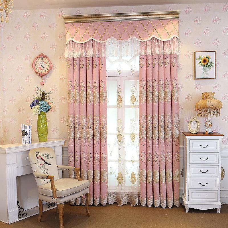 rèm cửa sổ Rèm cửa thêu Chenille mới Rèm cửa màu hồng Rèm vải Bán buôn