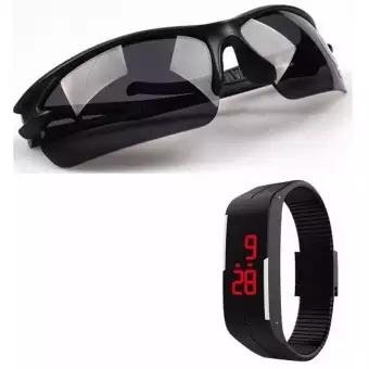 Kính bảo hộ Kính phân cực chống bụi (Đen) + Tặng Đồng hồ led thể thao (Đen)