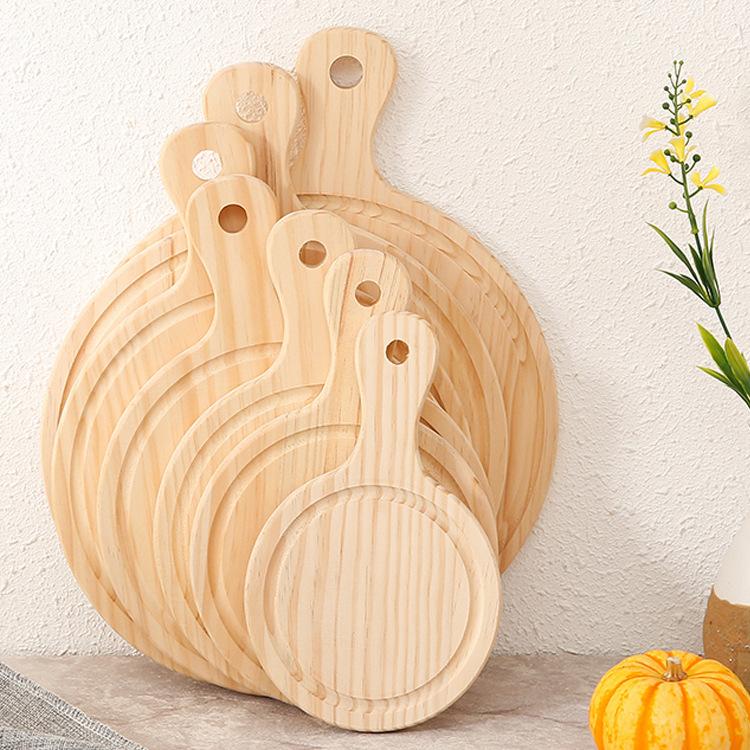 LIANPENG Mâm nhựa / Pallet nhựa Khay gỗ thông 8 inch 9 inch Khay gỗ tròn Tay cầm bằng gỗ tấm phương