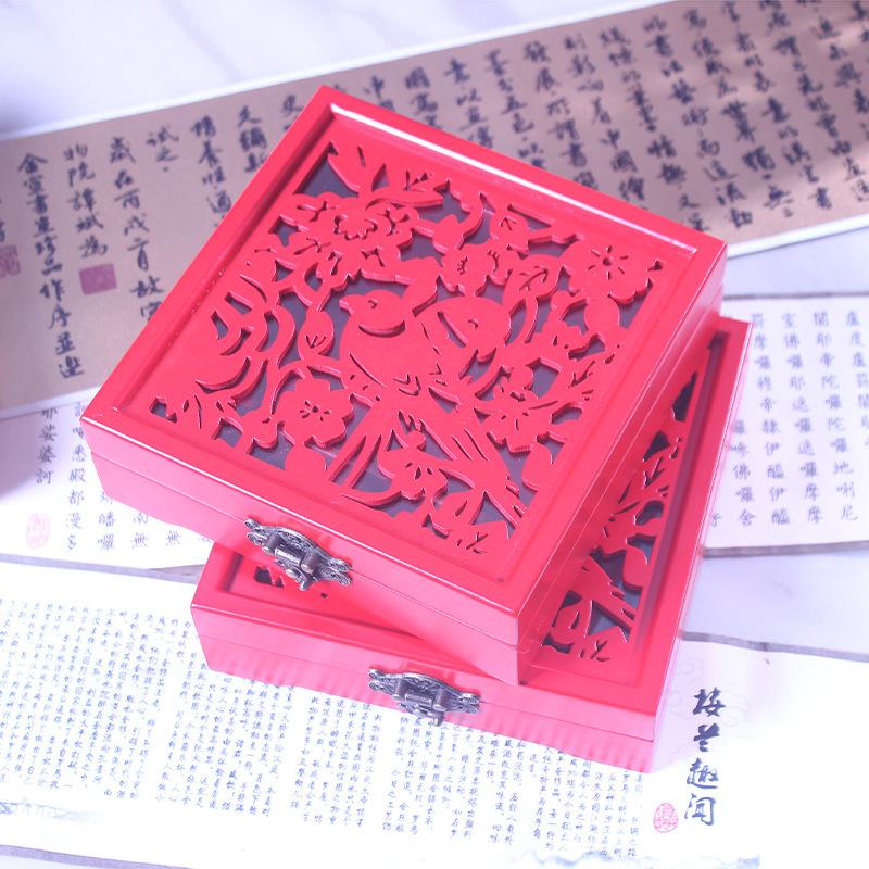 YURUI Hộp gỗ Trung Quốc retro cao cấp bộ sưu tập giấy chứng nhận đám cưới hộp trang sức bằng gỗ để g