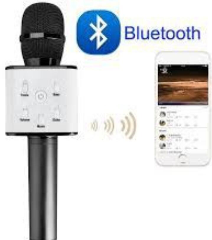 Micro Hát Karaoke Tích Hợp Loa Bluetooth Q7 ( Tặng Kèm Đèn Led USB)