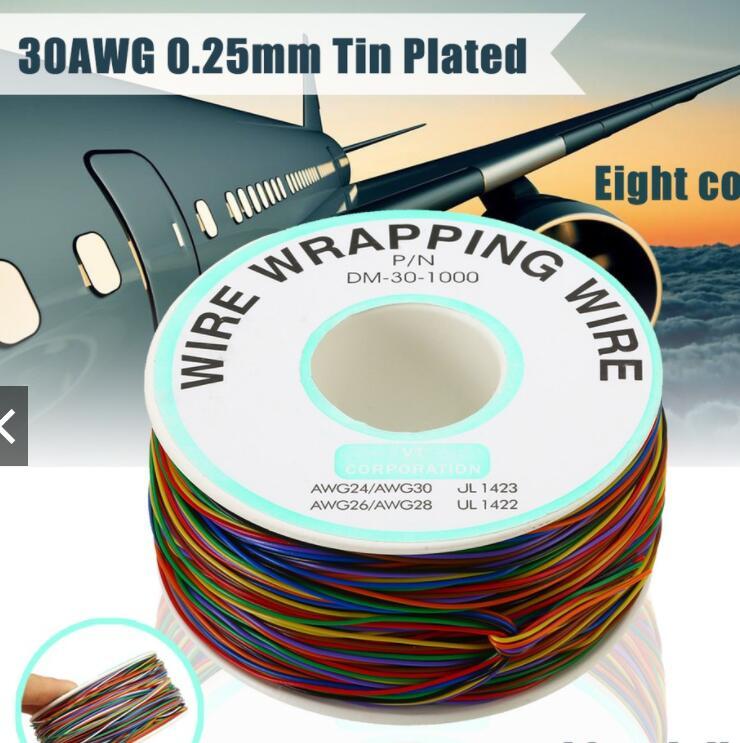 dây điện Cuộn Dây Điện 8 Màu 30AWG 0.25mm 280m Chuyên Dụng