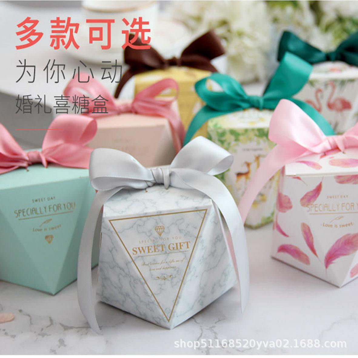 XIJIALE hộp quà tiệc cưới Hộp kẹo kim cương mới của Châu Âu Hộp kẹo cưới Sen sáng tạo Túi kẹo cưới s