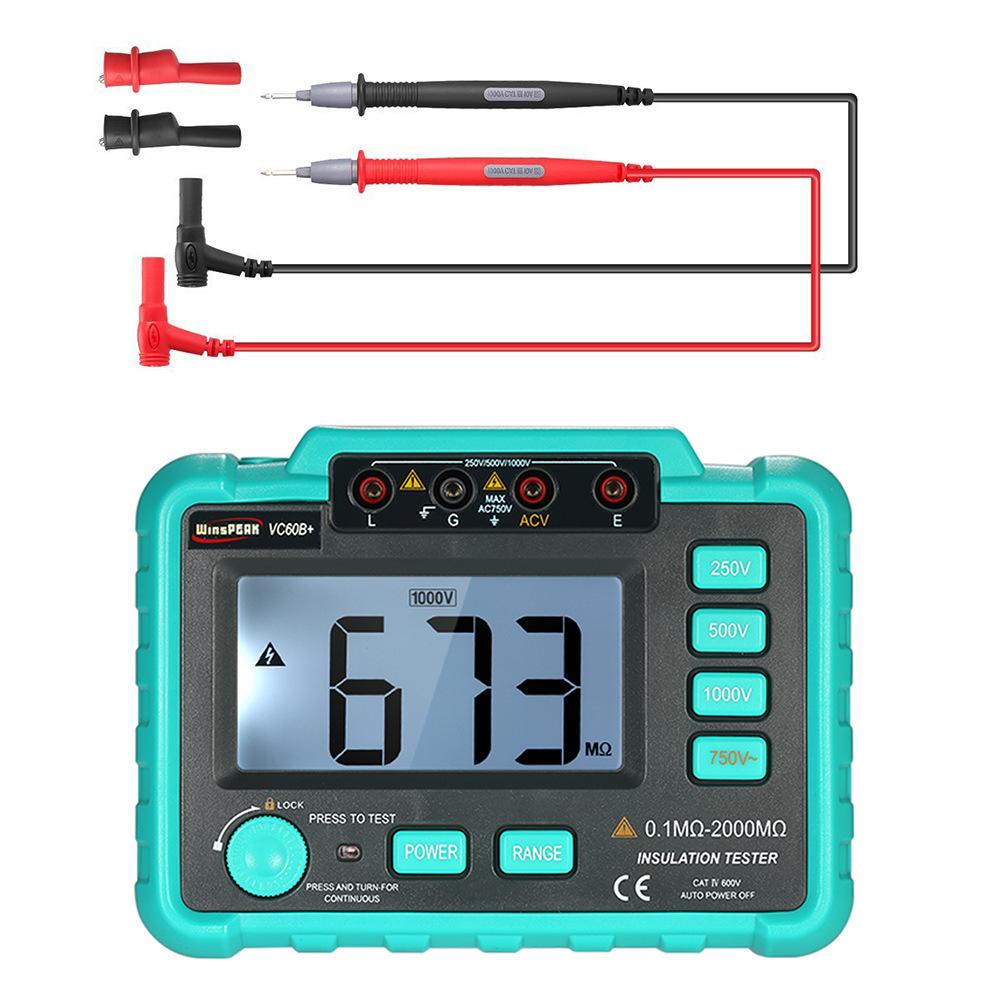 HANYAN Đồng hồ đo điện Máy đo vạn năng kỹ thuật số đo điện trở cách điện thử nghiệm dụng cụ đo điện
