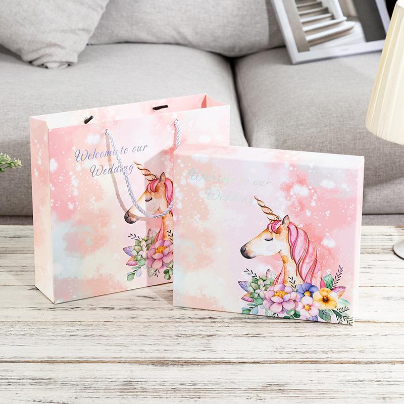 hộp quà tiệc cưới Square unicorn hộp quà tặng gió sáng tạo flamingo hộp đám cưới hộp kẹo đám cưới vớ