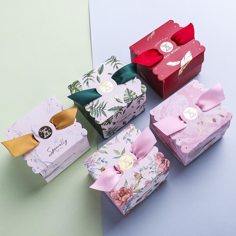 HAOMENG hộp quà tiệc cưới Sáng tạo đám cưới kẹo vuông hộp kẹo Trung Quốc hộp kẹo trăng tròn túi kẹo