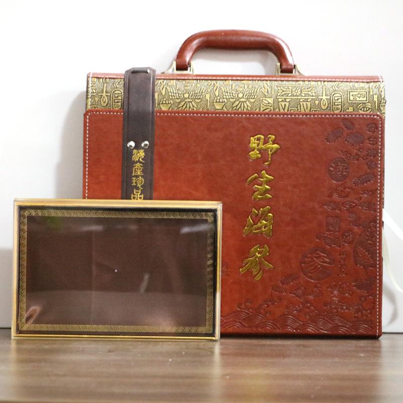 WANBAI Hộp da Hộp dưa chuột biển hoang dã Hộp quà tặng Liaoshen hộp quà tặng hộp da dập nổi cao cấp